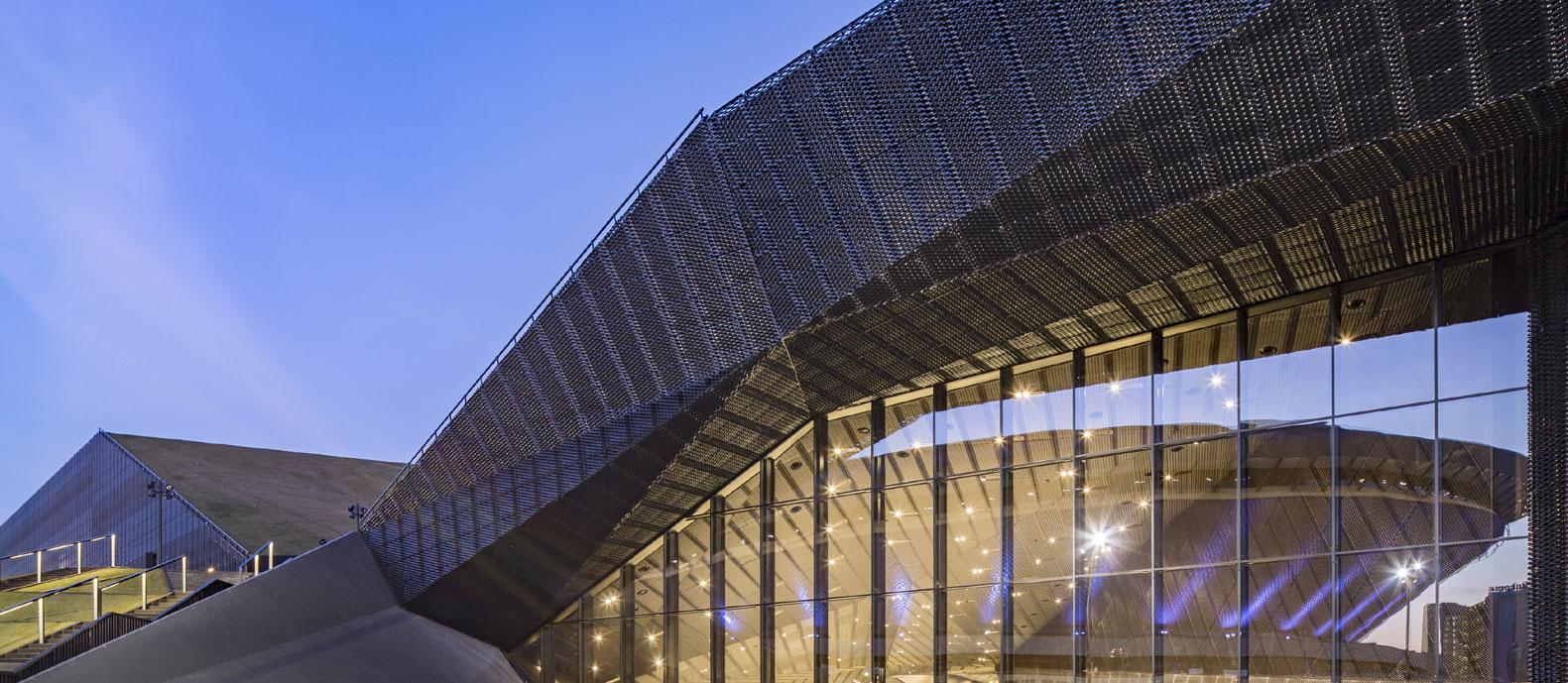 Expanded metal facade ICC Poland design